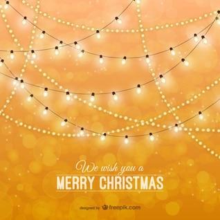 Tarjeta de Navidad con luces clásicas