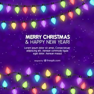 Plantilla de tarjeta de Navidad con luces de colores