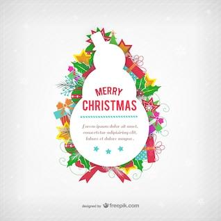 Plantilla de la tarjeta de Navidad con el muñeco de nieve silueta