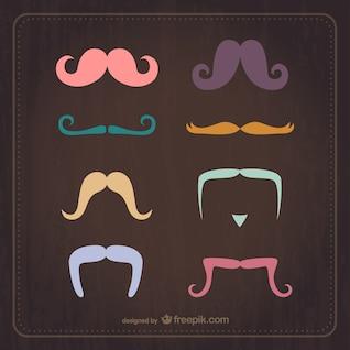 El bigote Conjunto de la vendimia del vector