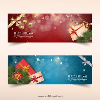 Banderas de la Navidad con los presentes