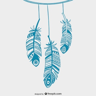 Plumas colgantes azules