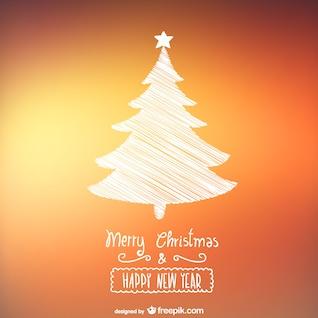 Tarjeta de Navidad con el árbol esquemático