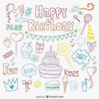 Tarjeta de cumpleaños del Doodle