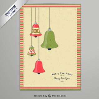 CMYK tarjeta de Navidad con campanas