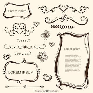 Caligráficos adornos amor y marcos