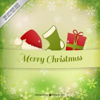 Tarjeta de Navidad con adornos y copos de nieve