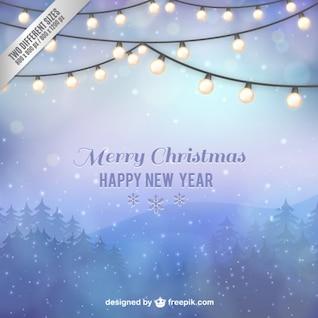 Tarjeta de Navidad con paisaje invernal