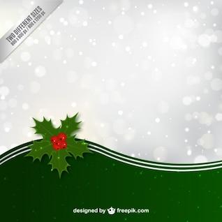 De fondo de Navidad con hojas de acebo