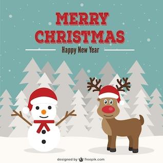 Tarjeta de Navidad con el muñeco de nieve y renos