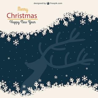 Tarjeta de Navidad de la vendimia con el reno silueta