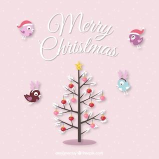 Tarjeta de Navidad con aves