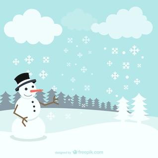 Paisaje de invierno con el muñeco de nieve