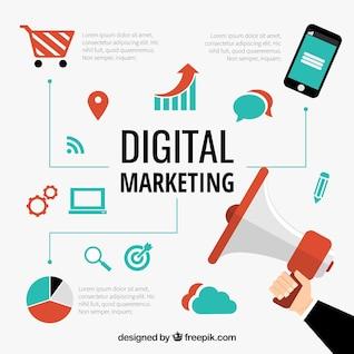 El marketing digital vectorial conceptual