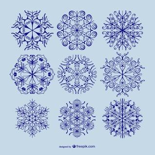 Copos de nieve caligráficos paquete