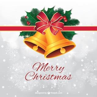 Tarjeta de Navidad con campanas de oro