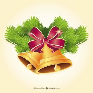 Navidad de oro campanas ilustración