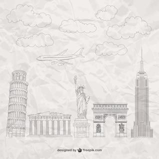 Monumentos famosos textura de papel