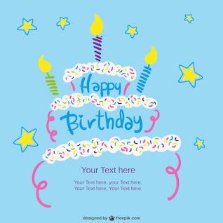Plantilla de la tarjeta de cumpleaños con pastel