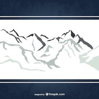 Montañas cubiertas de nieve del vector