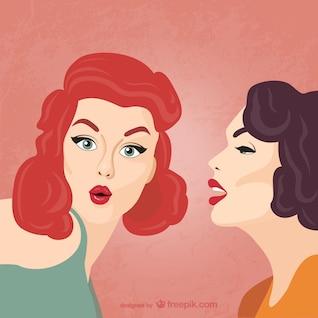 Mujeres chismosas ilustración