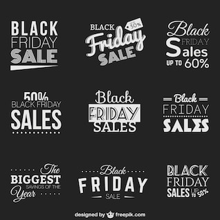 Negro insignias de ventas Viernes