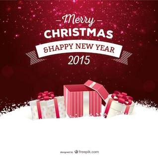 Tarjeta de Navidad con regalos vector