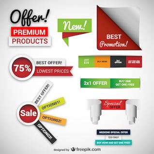 Promociones y pegatinas de ventas