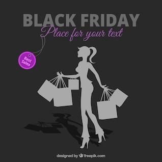 Negro de compras vector Viernes