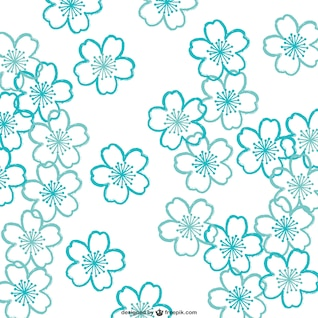 Turquesa patrón de flores de cerezo
