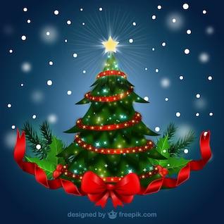 Árbol de navidad con la cinta roja