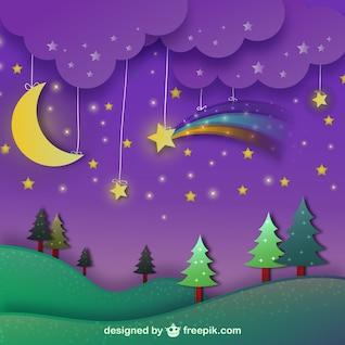 Paisaje de la noche con el cielo púrpura