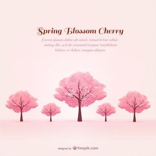 Plantilla con cerezos en primavera
