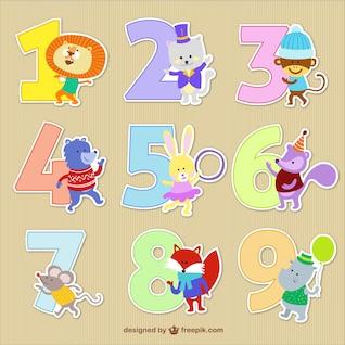 Números con dibujos animados de animales