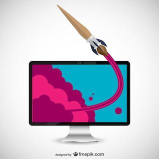 Brush-cohete y la pantalla del ordenador