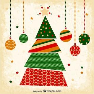 Grunge tarjeta de Navidad con el árbol
