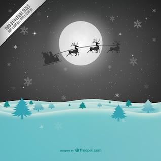 De fondo de Navidad con Santa Claus silueta