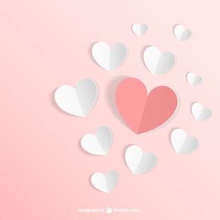 Vector con corazones de papel