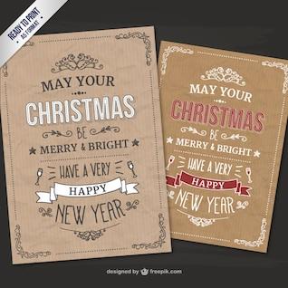 Estilo retro CMYK tarjetas de Navidad
