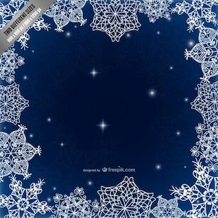 Marco con los copos de nieve caligráficas