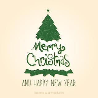 Tarjeta verde de la vendimia de la Navidad
