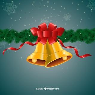 Campanas doradas de Navidad con cinta roja