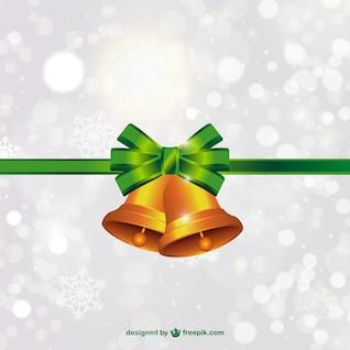 Vector de campanas de Navidad con lazo verde