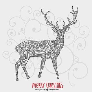 Tarjeta de Navidad artística con reno