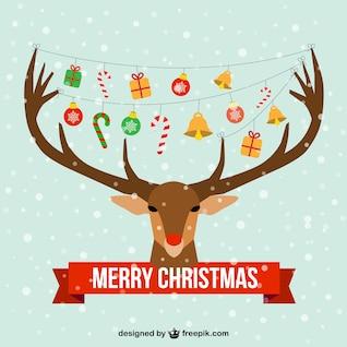 Tarjeta de Navidad con cabeza de reno