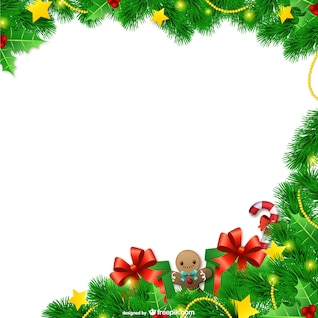 Marco de la Navidad con las hojas