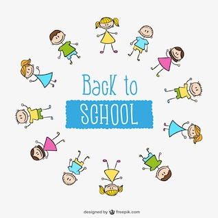 Círculo de niños de la vuelta al colegio