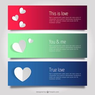 Amor y corazones plantillas de banner