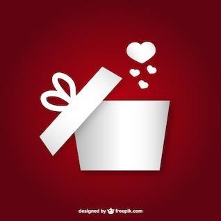 Caja de regalo con el corazón