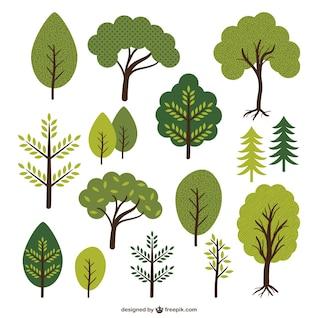 Los árboles y las hojas de recogida